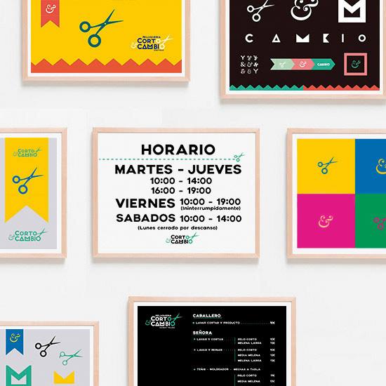 Carteles y posters para la peluqueria Corto y Cambio de Gijón