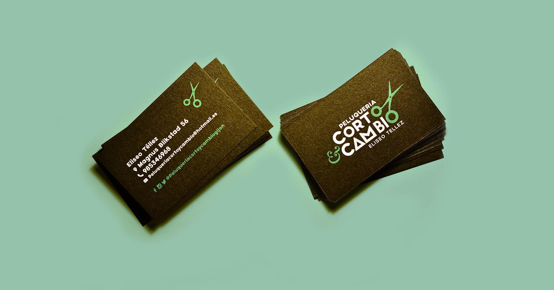Bussines cards - tarjetas de visita - Corto y cambio Gijón