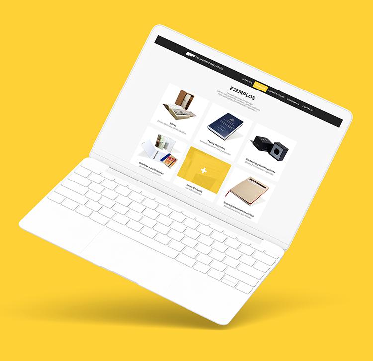 Encuadernaciones Abella -Responsive website on labtop