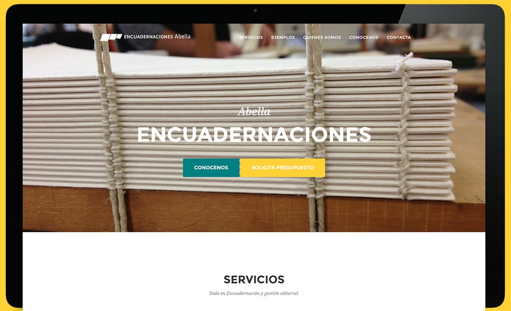 Encuadernaciones Abella Website - Screen