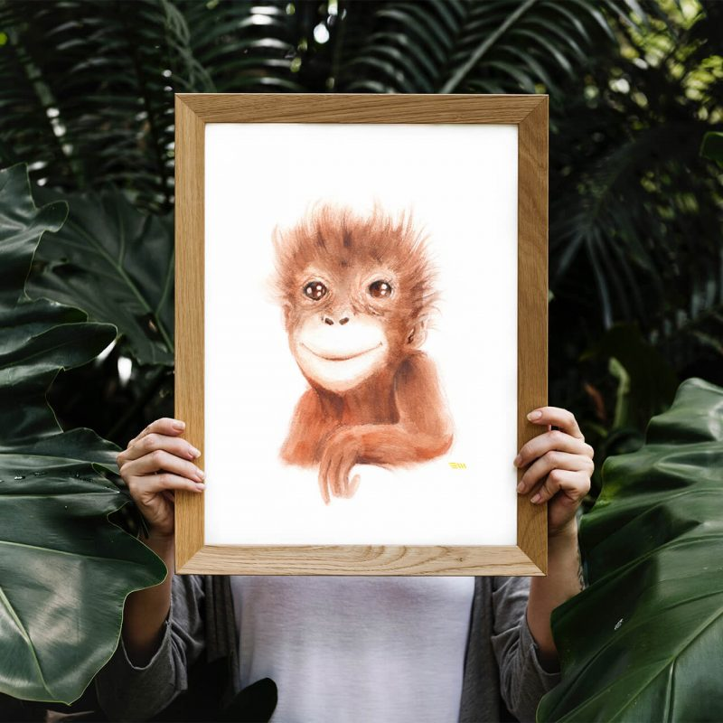 Watercolor-monkey-orangutan-animal-print-safari-nursery-kids-room-decor